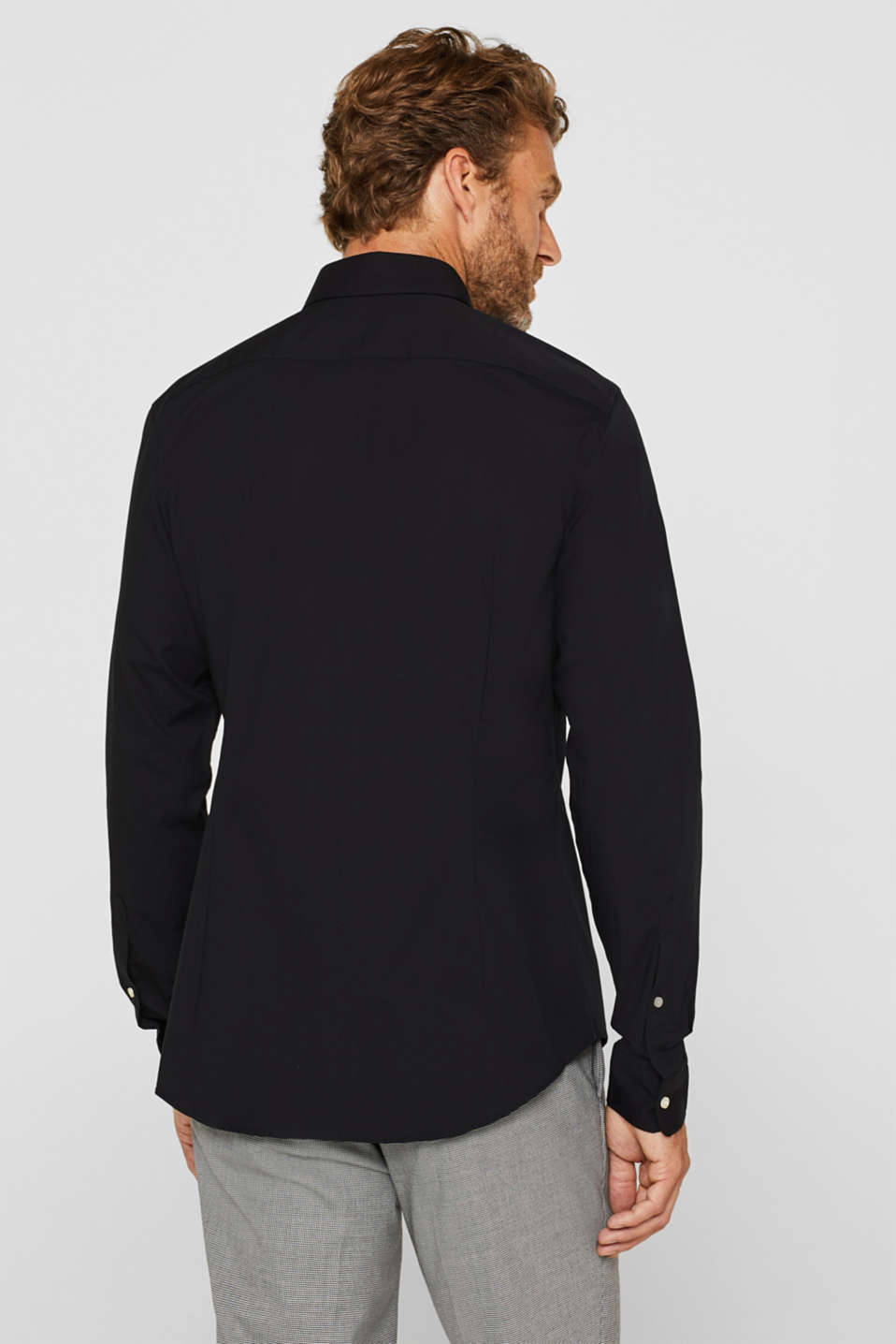Double pack of business shirts made of stretch cotton, BLACK, detail image number 3