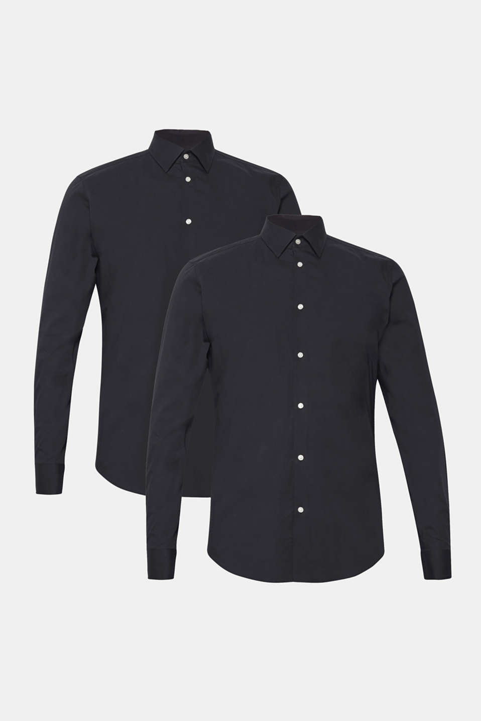 Double pack of business shirts made of stretch cotton, BLACK, detail image number 7