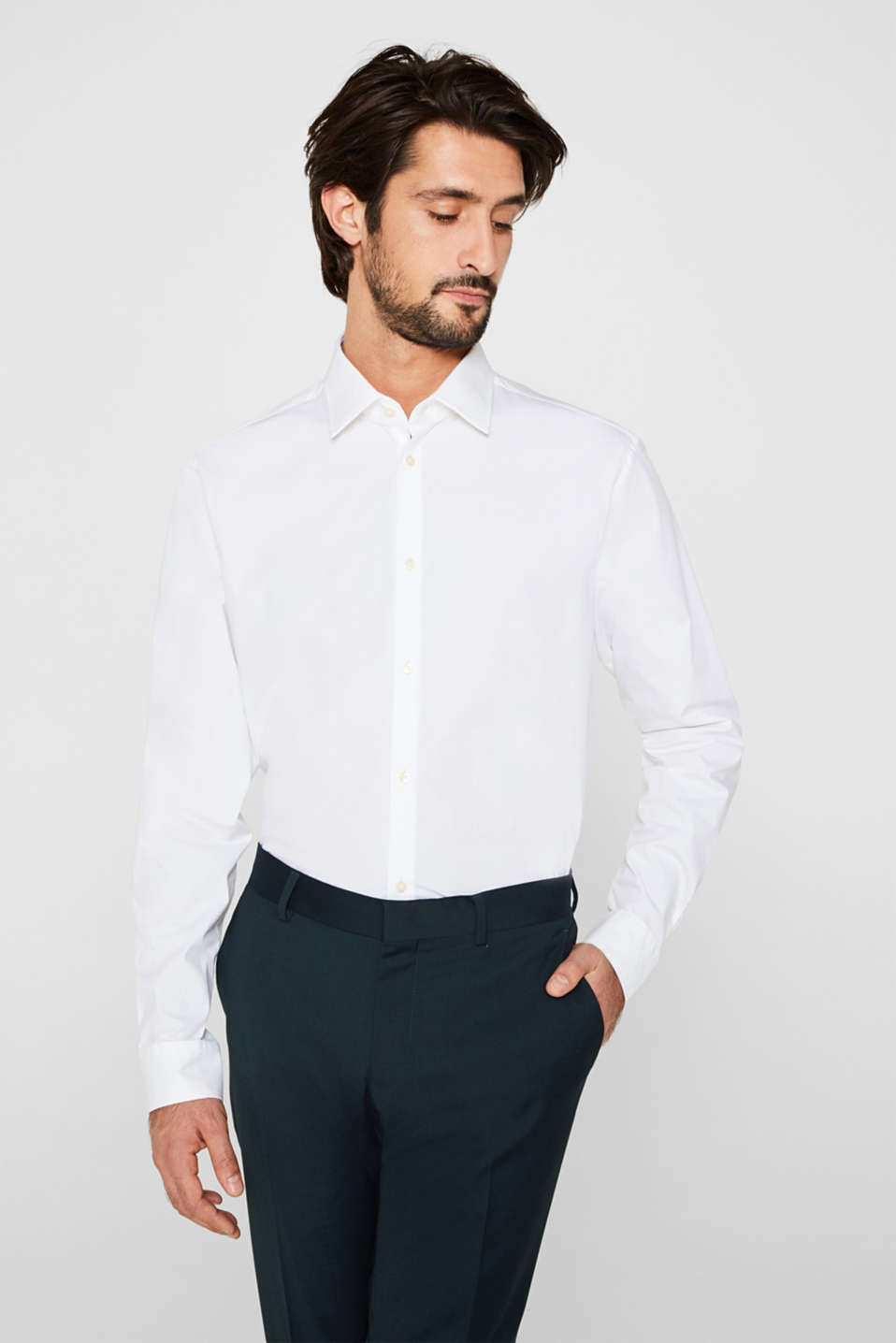 Esprit - Double pack of business shirts made of stretch cotton