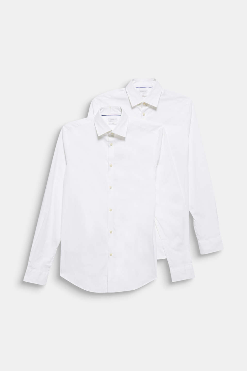 Double pack of business shirts made of stretch cotton, WHITE, detail image number 7