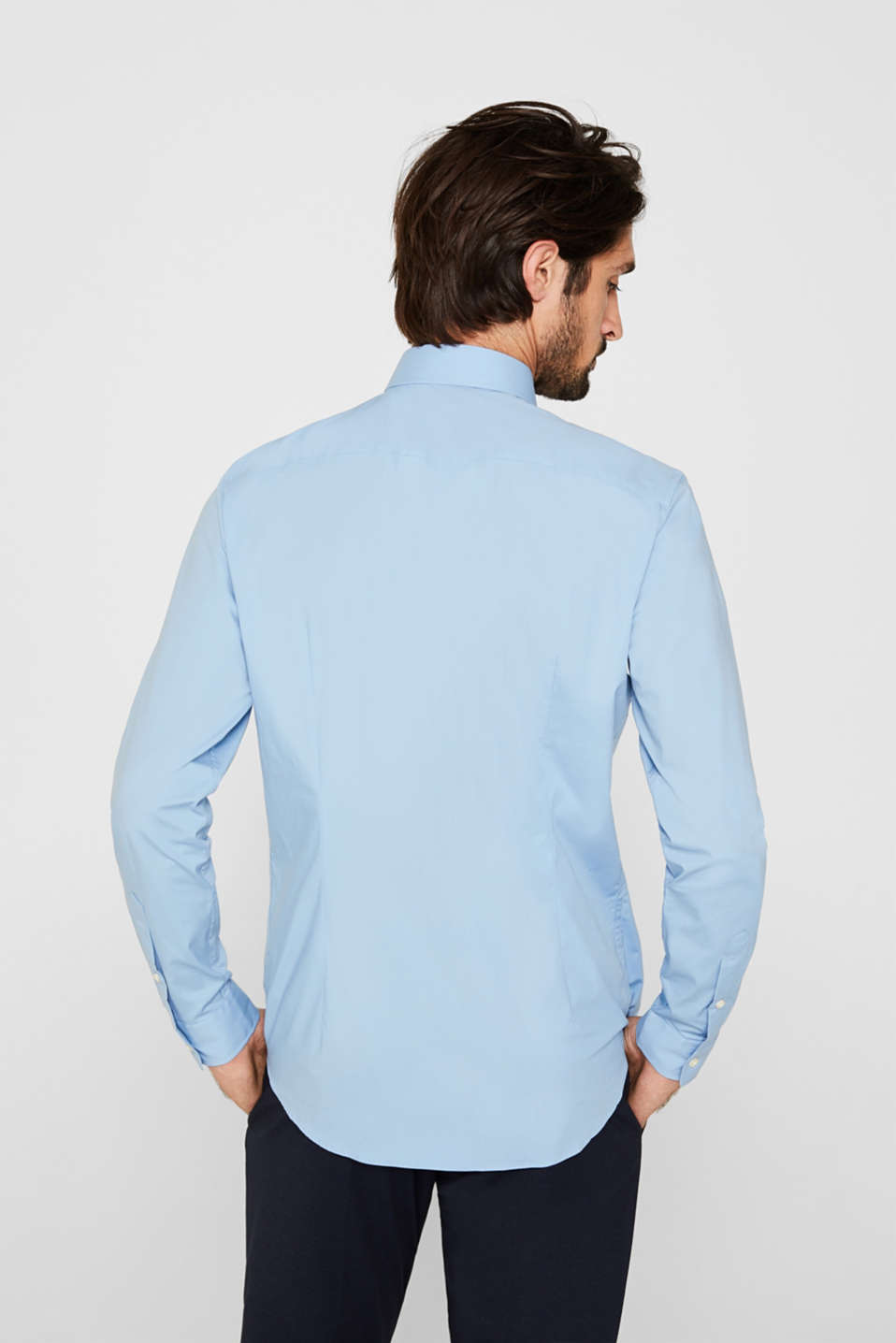 Double pack of business shirts made of stretch cotton, LIGHT BLUE, detail image number 3