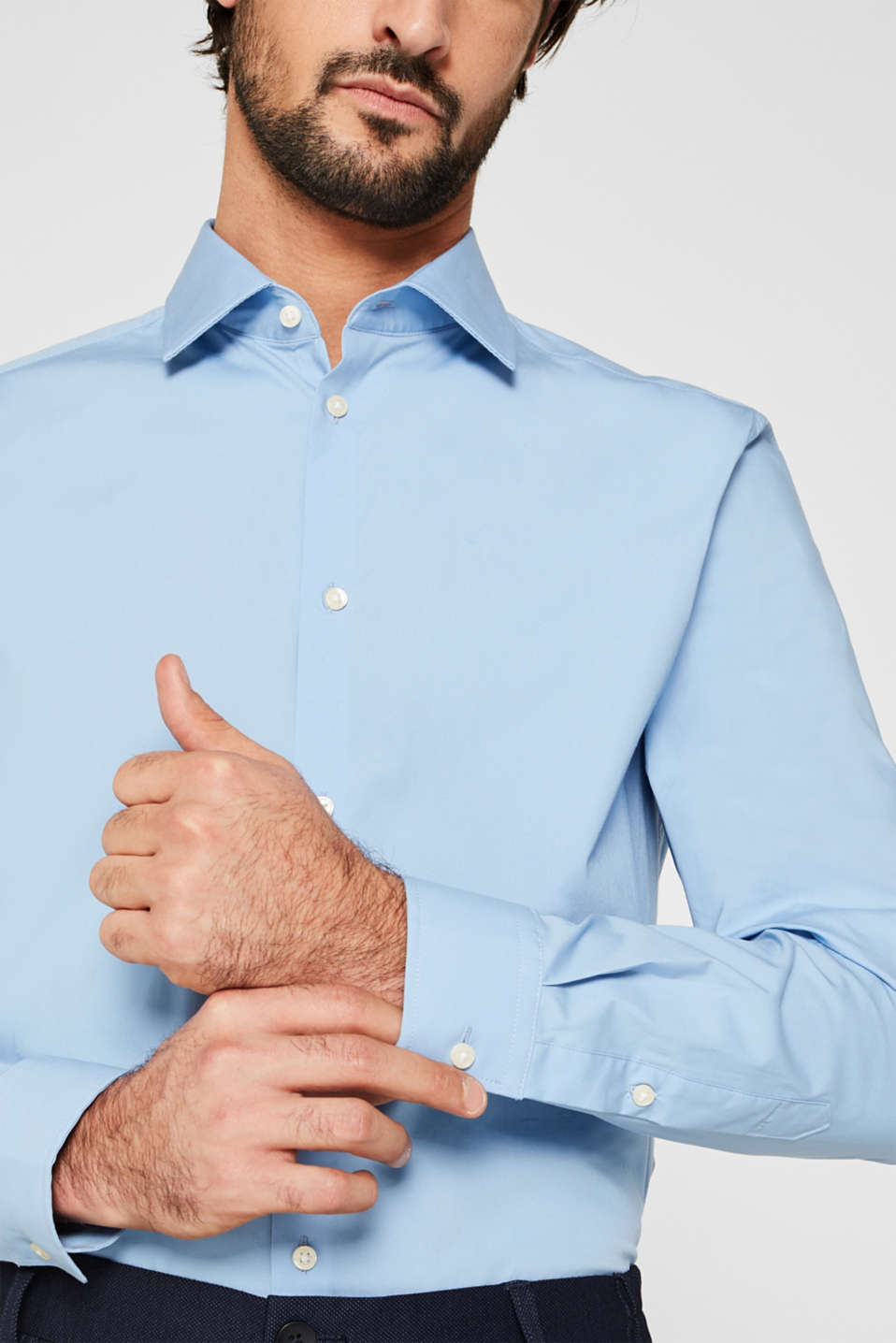 Double pack of business shirts made of stretch cotton, LIGHT BLUE, detail image number 2