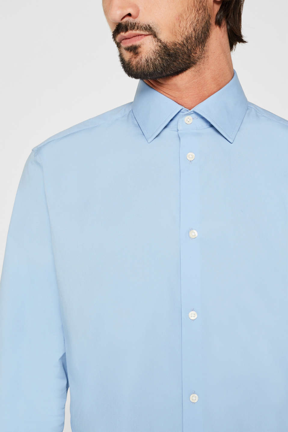 Double pack of business shirts made of stretch cotton, LIGHT BLUE, detail image number 6