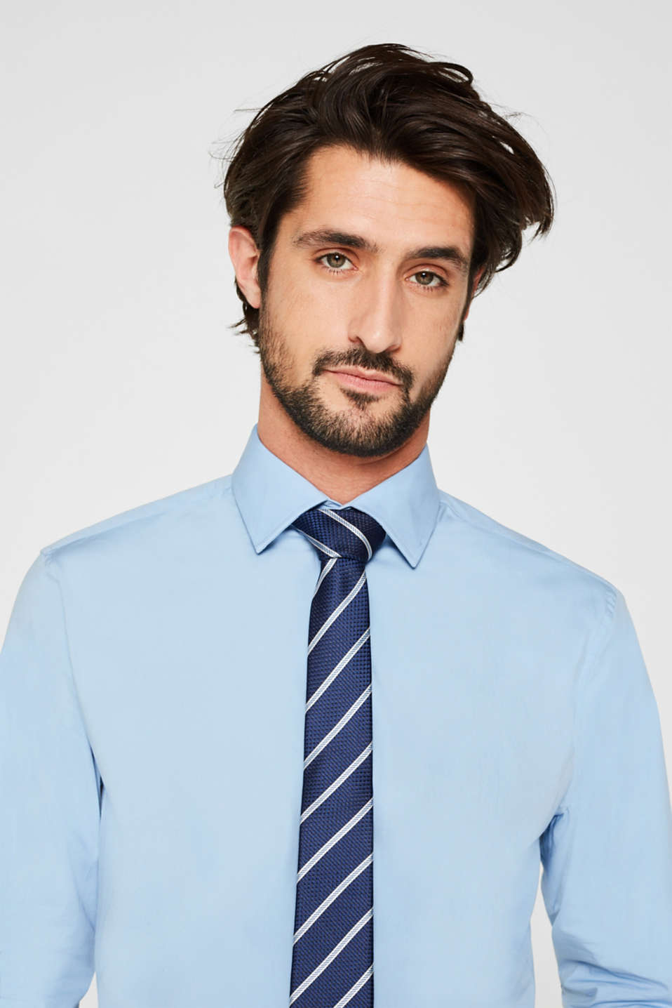 Double pack of business shirts made of stretch cotton, LIGHT BLUE, detail image number 5