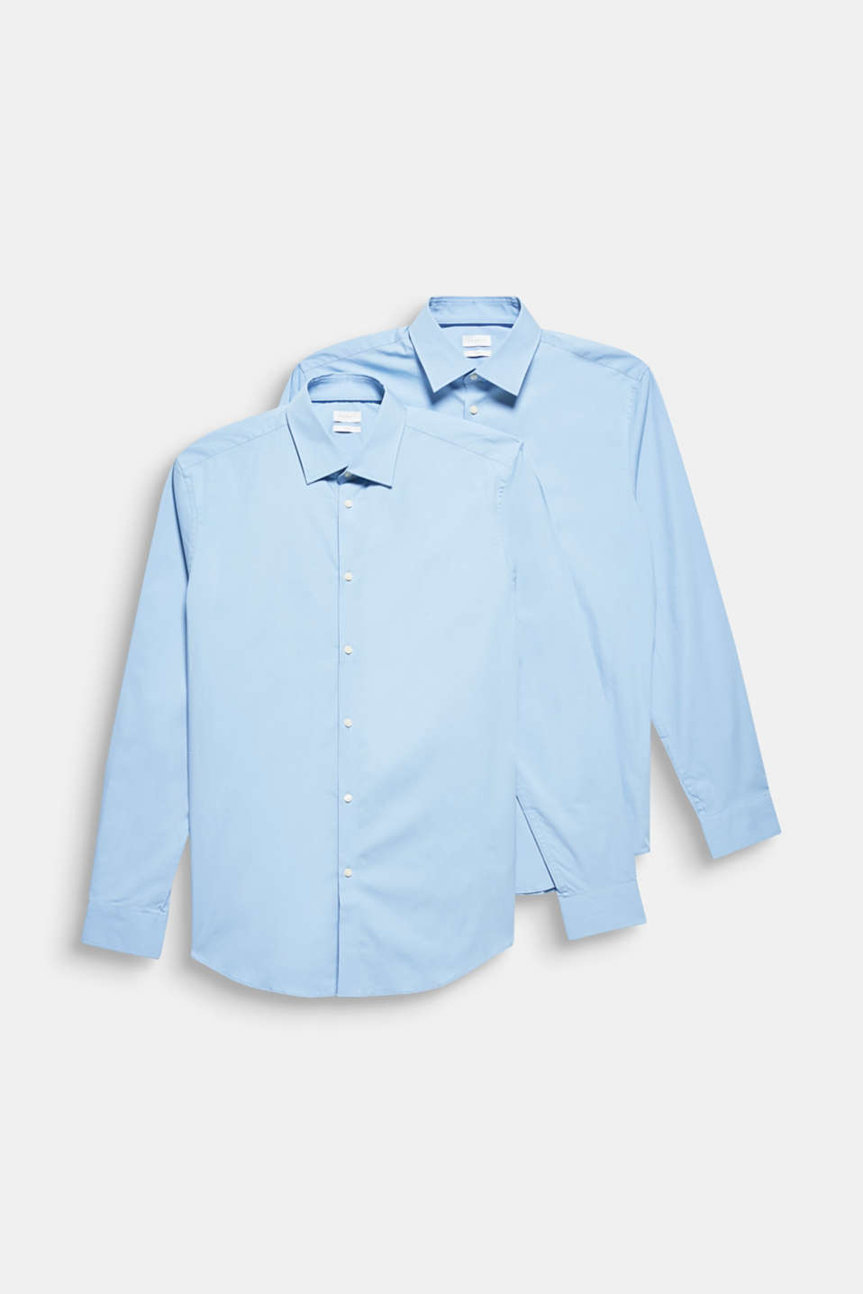 Double pack of business shirts made of stretch cotton, LIGHT BLUE, detail image number 7
