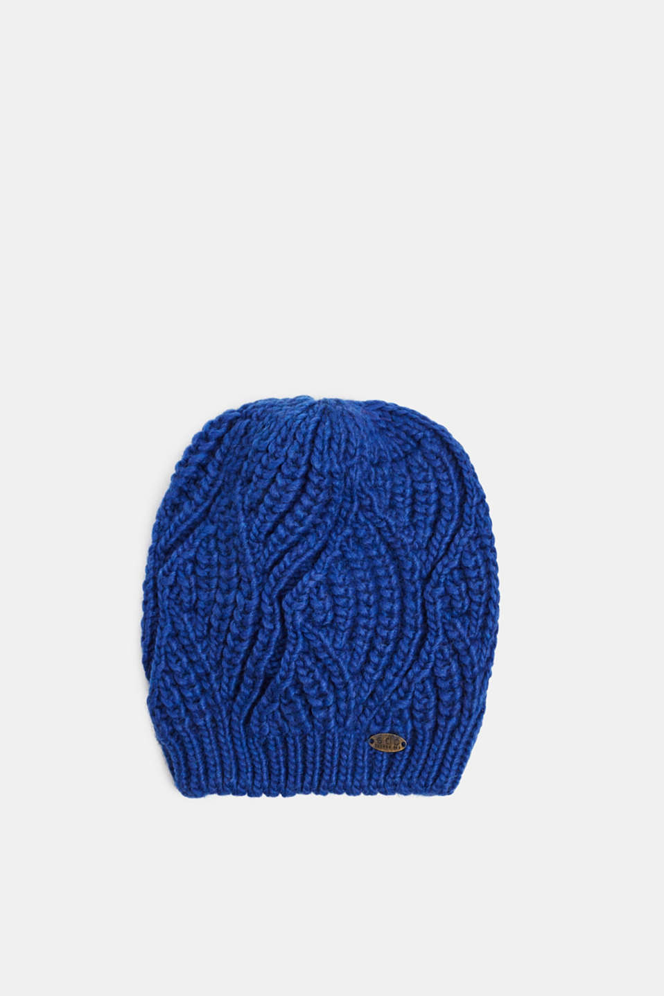 With wool and alpaca: Beanie with a texture, BRIGHT BLUE, detail image number 0