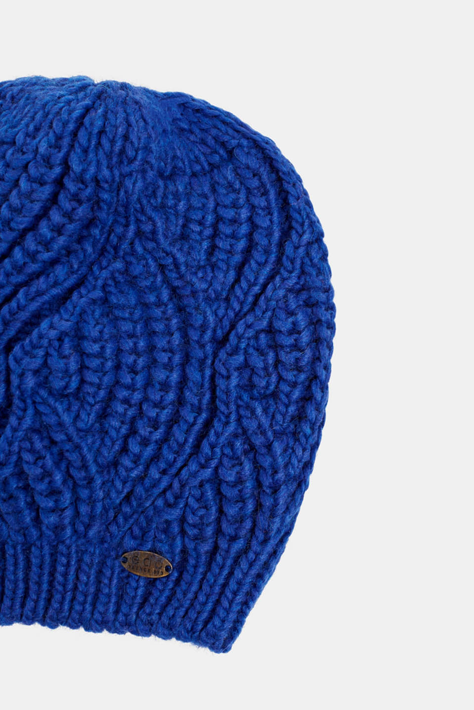 With wool and alpaca: Beanie with a texture, BRIGHT BLUE, detail image number 1