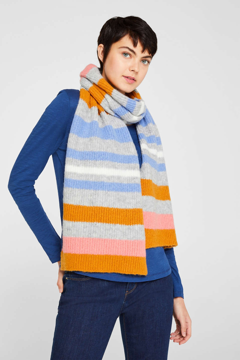 Scarf with stripes, GREY, detail image number 1