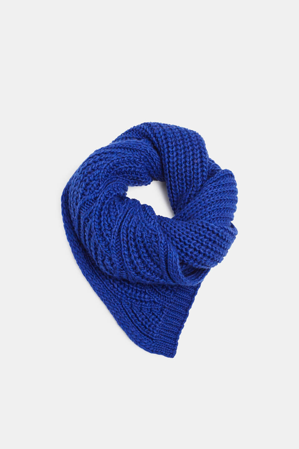 With wool and alpaca: Textured scarf, BRIGHT BLUE, detail image number 0