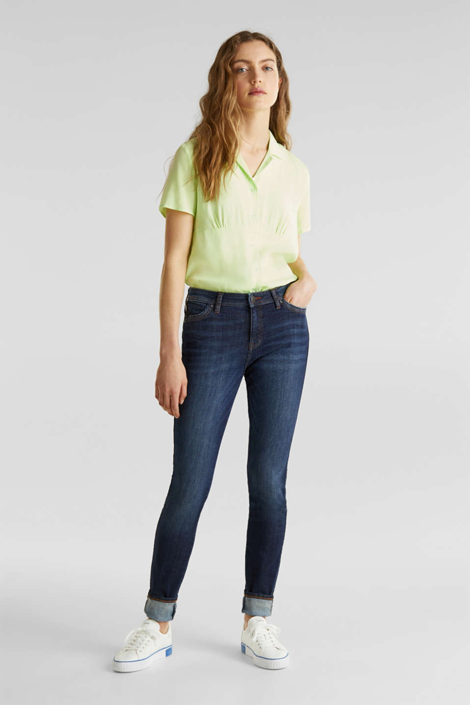 edc - Jeans stretch con zip laterale con zip decorativa