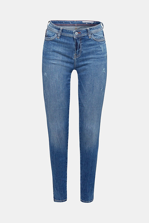 Stretch jeans with decorative zip