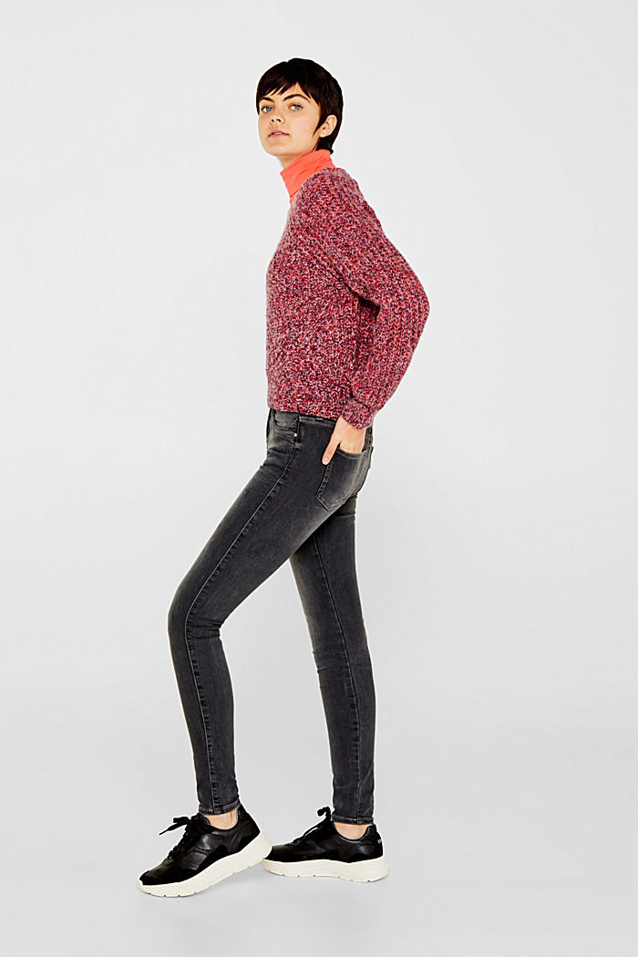 Stretch jeans with zip detail, BLACK MEDIUM WASHED, detail image number 1