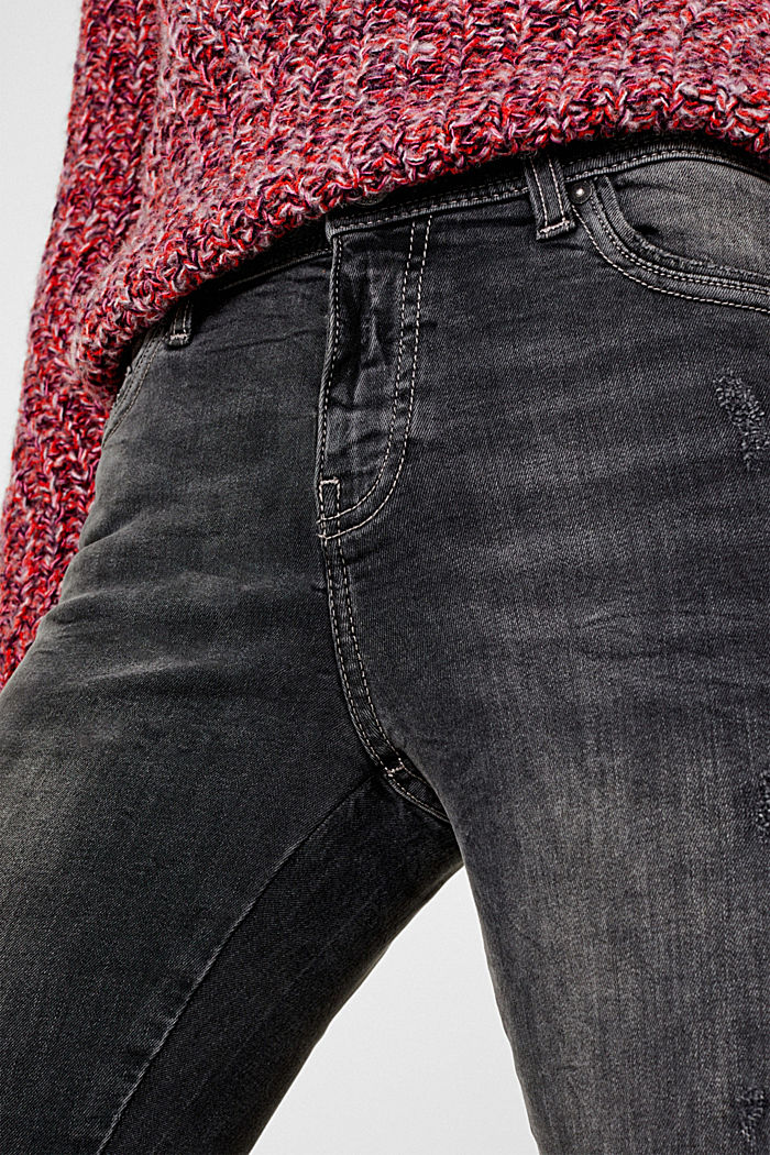 Stretch jeans with zip detail, BLACK MEDIUM WASHED, detail image number 2