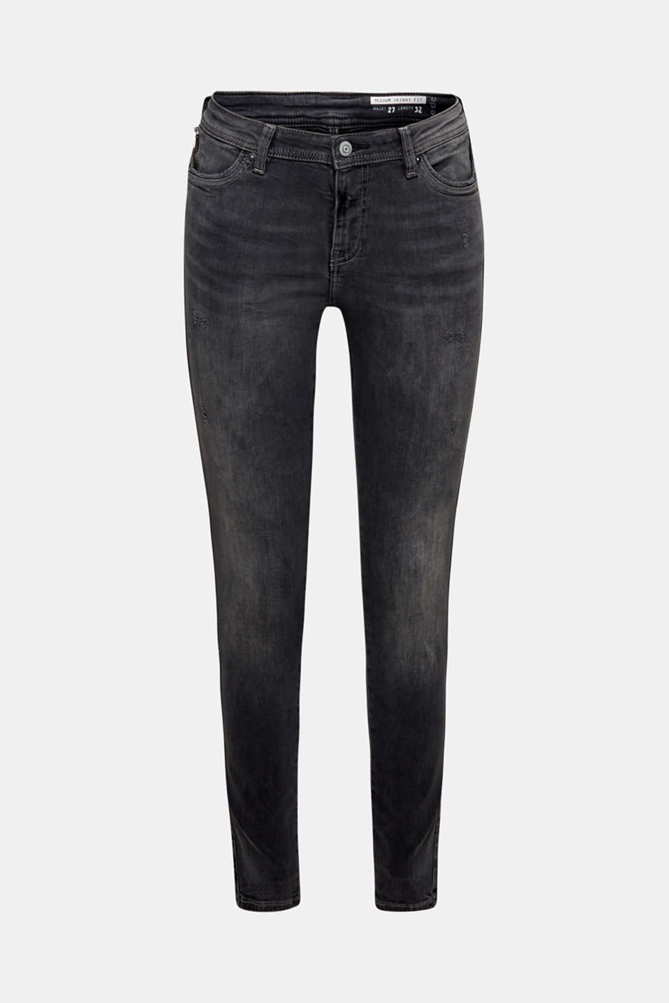Stretch jeans with zip detail, BLACK MEDIUM WASH, detail image number 6