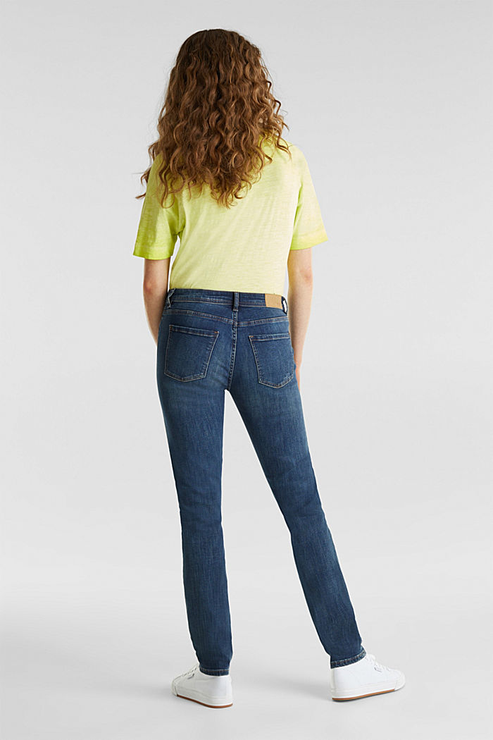 Stretch jeans with a washed effects, BLUE DARK WASHED, detail image number 1