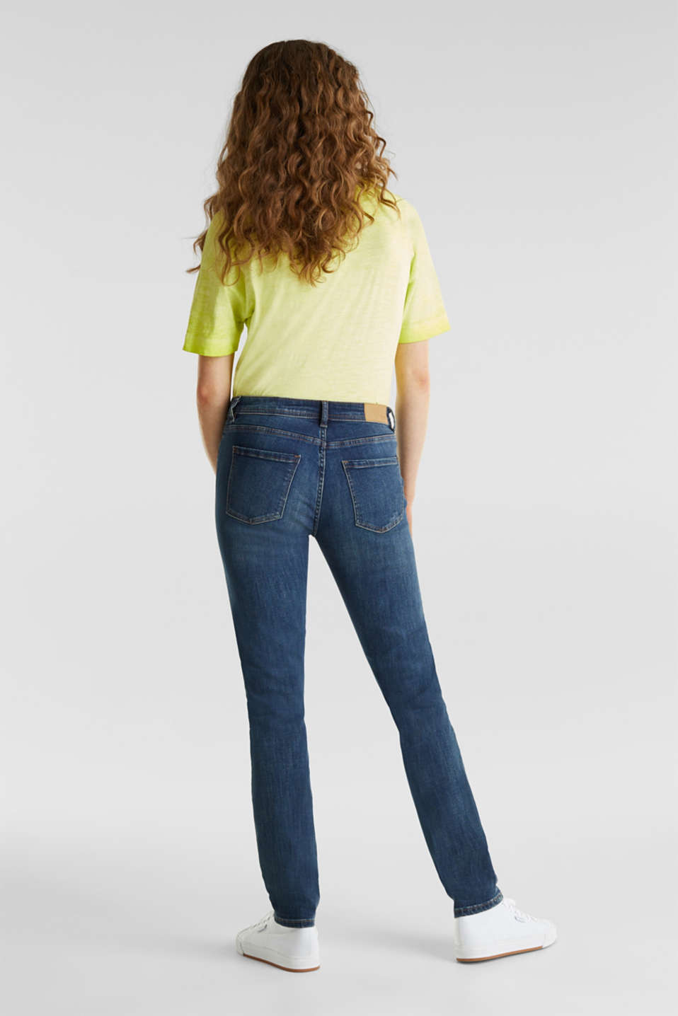 Stretch jeans with a washed effects, BLUE DARK WASH, detail image number 1