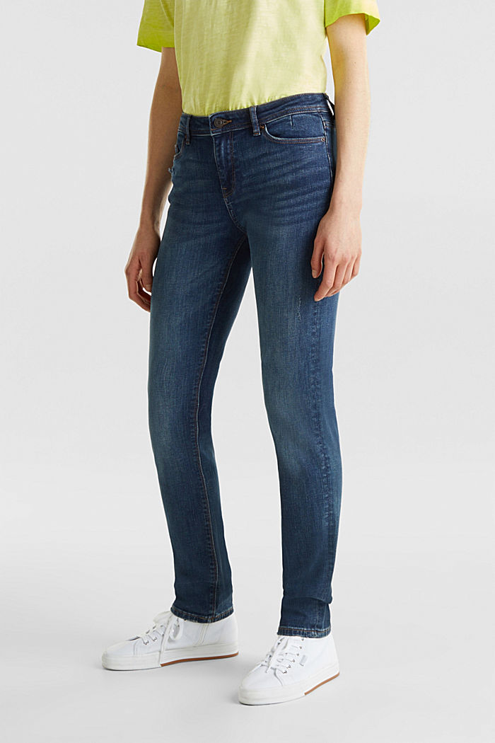 Stretch jeans with a washed effects, BLUE DARK WASHED, detail image number 2