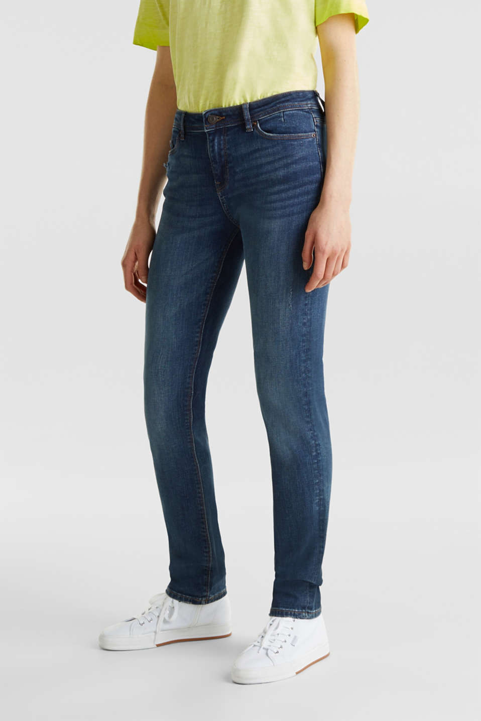 Stretch jeans with a washed effects, BLUE DARK WASH, detail image number 2