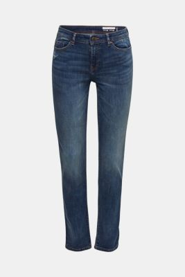 Stretch jeans with a washed effects, BLUE DARK WASH, detail