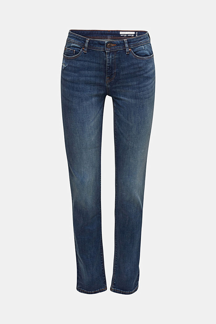 Stretch jeans with a washed effects, BLUE DARK WASHED, detail image number 3
