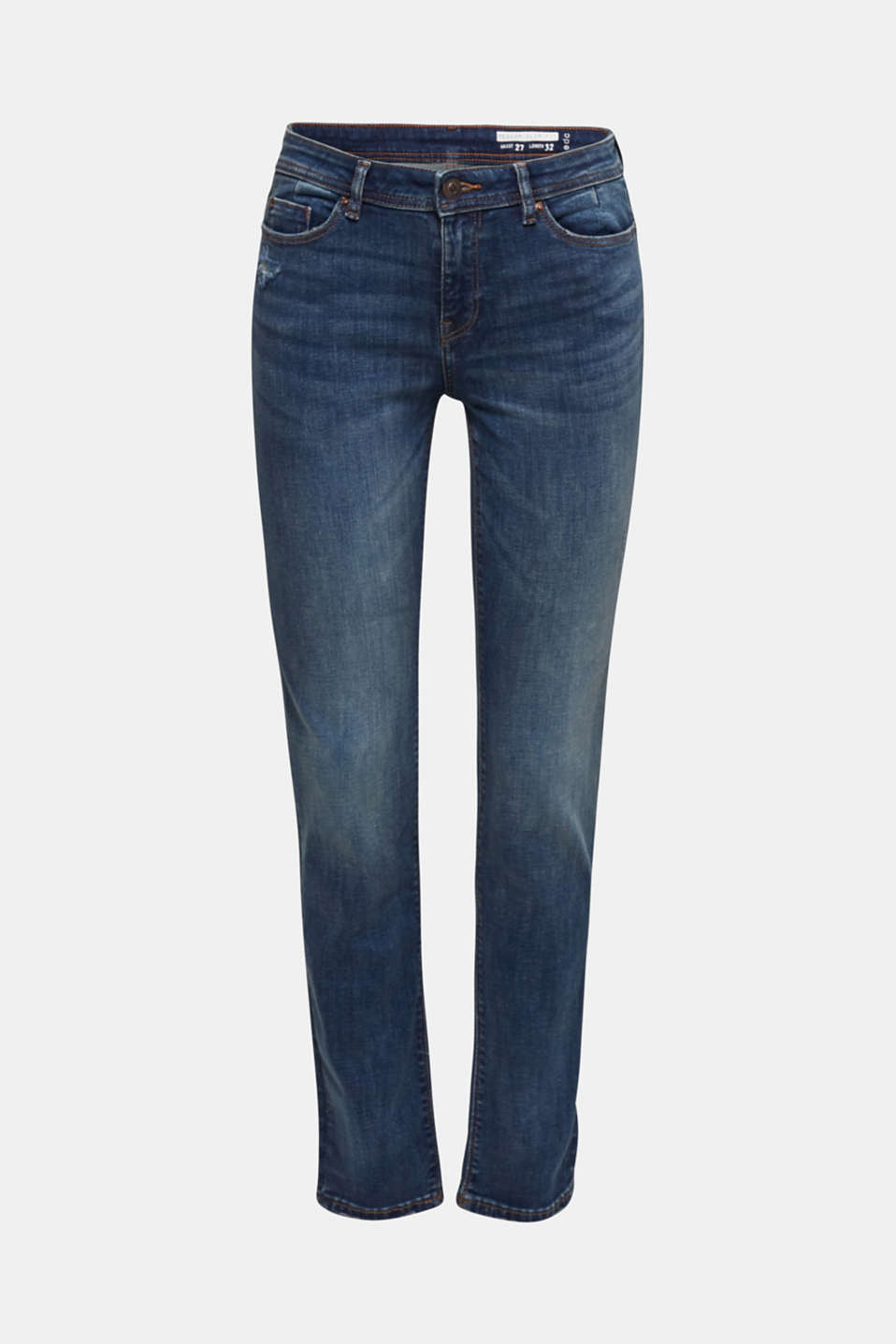 Stretch jeans with a washed effects, BLUE DARK WASH, detail image number 3