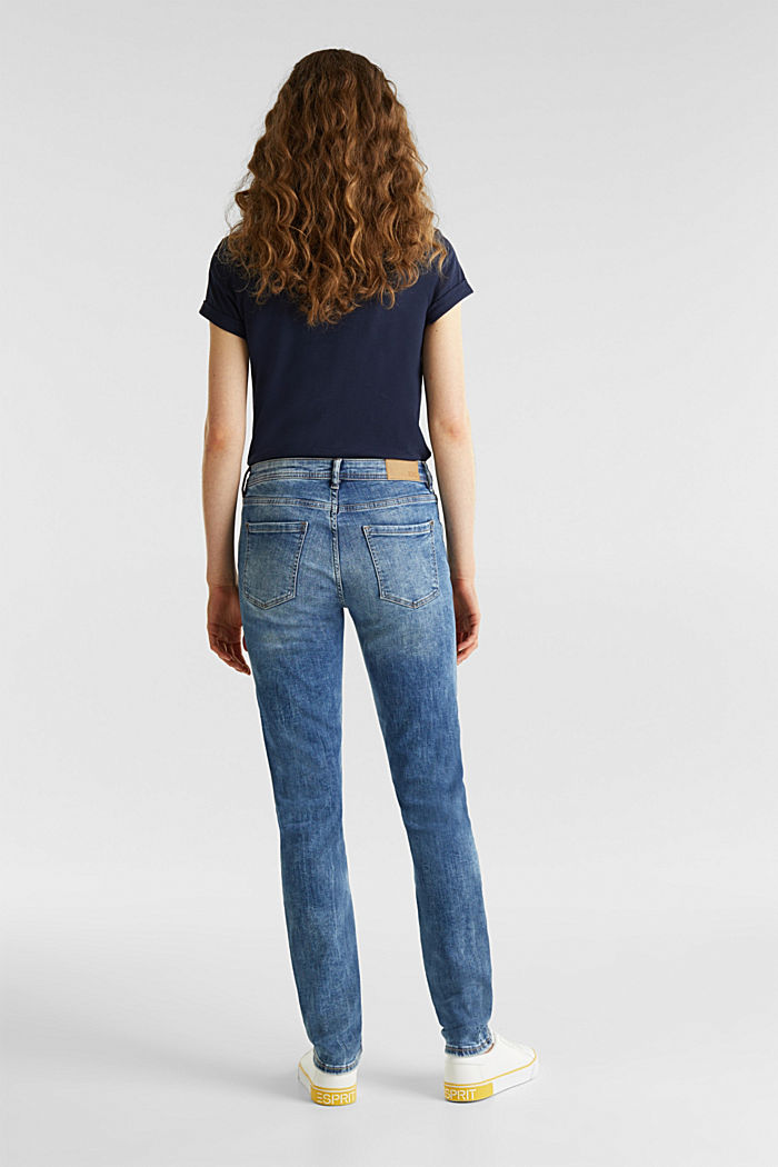Stretch jeans with a washed effects, BLUE MEDIUM WASHED, detail image number 3