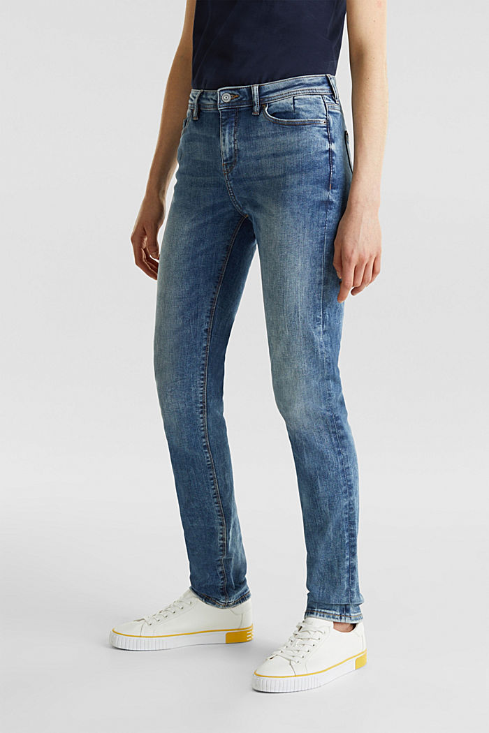 Stretch jeans with a washed effects, BLUE MEDIUM WASHED, detail image number 6