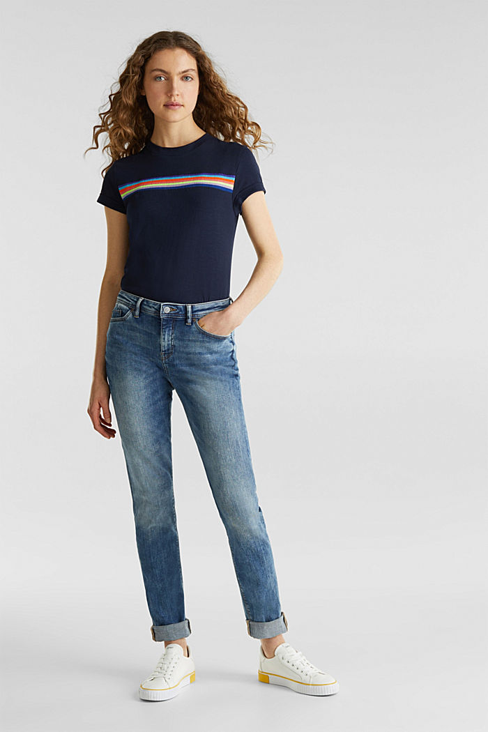 Stretch jeans with a washed effects, BLUE MEDIUM WASHED, detail image number 1