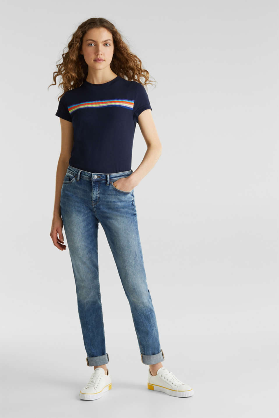 Stretch jeans with a washed effects, BLUE MEDIUM WASH, detail image number 1