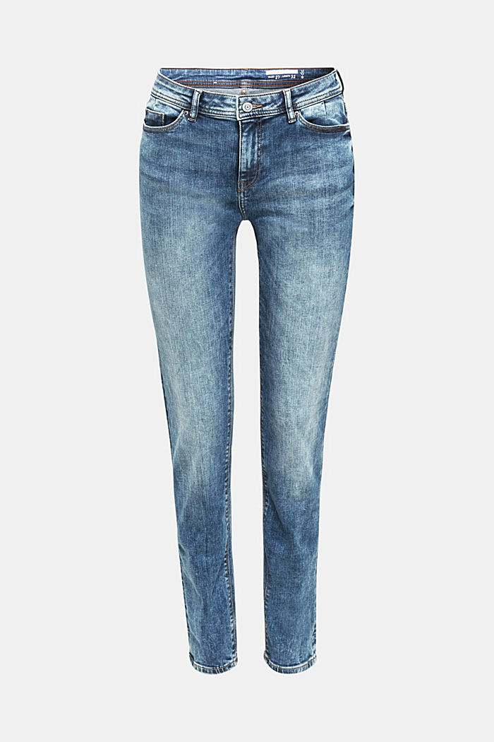 Stretch jeans with a washed effects, BLUE MEDIUM WASHED, detail image number 7