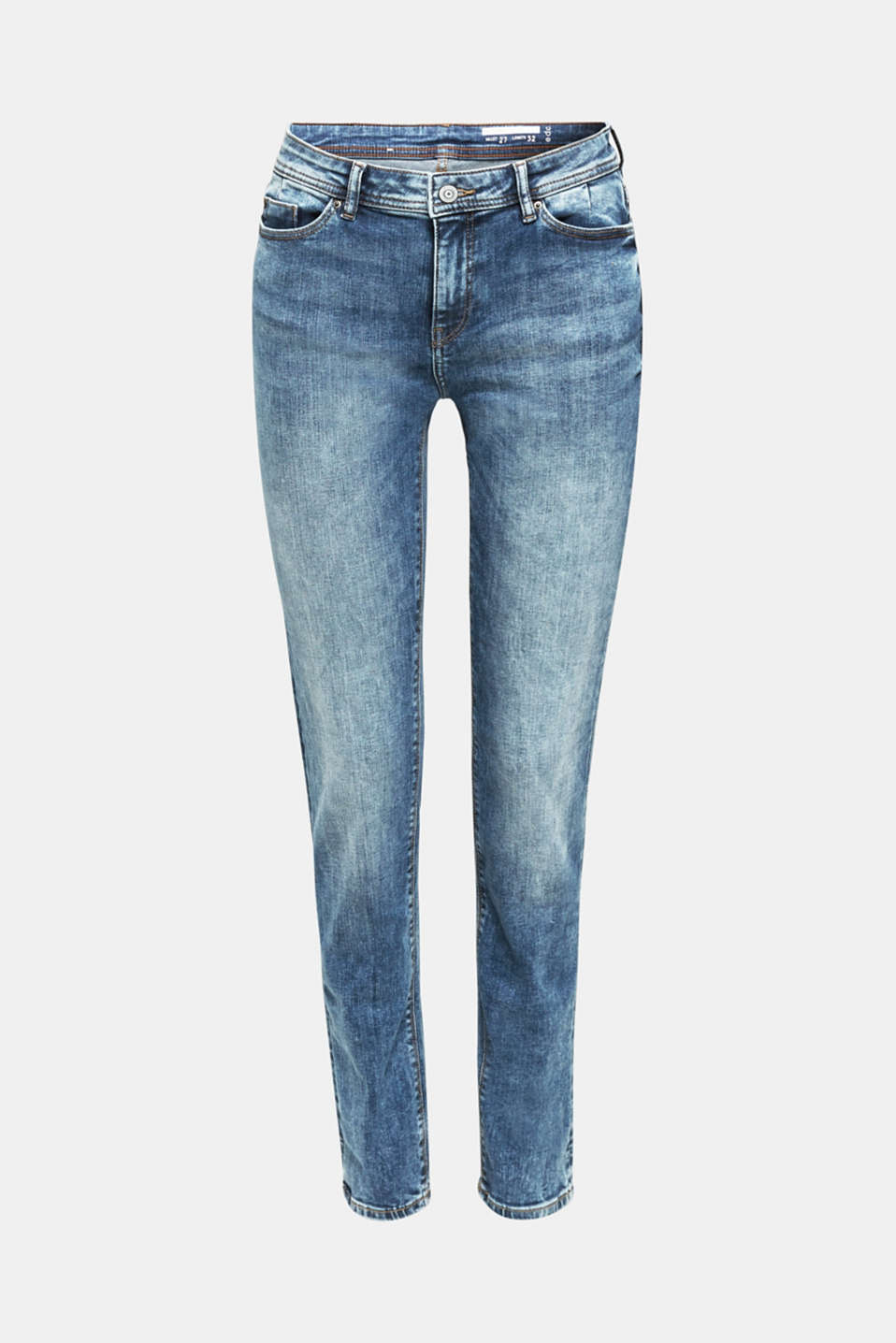 Stretch jeans with a washed effects, BLUE MEDIUM WASH, detail image number 7