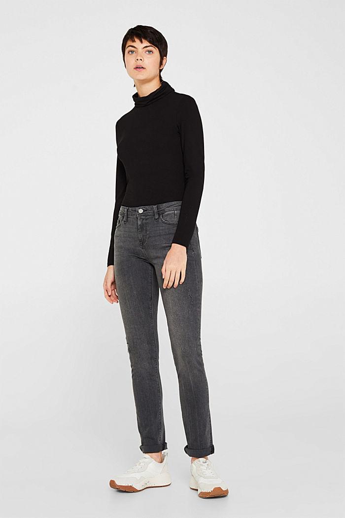 Stretch jeans in a vintage look, BLACK MEDIUM WASHED, detail image number 0