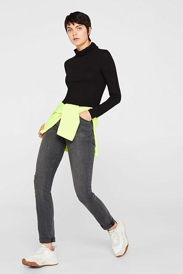 Stretch jeans in a vintage look, BLACK MEDIUM WASHED, detail image number 1