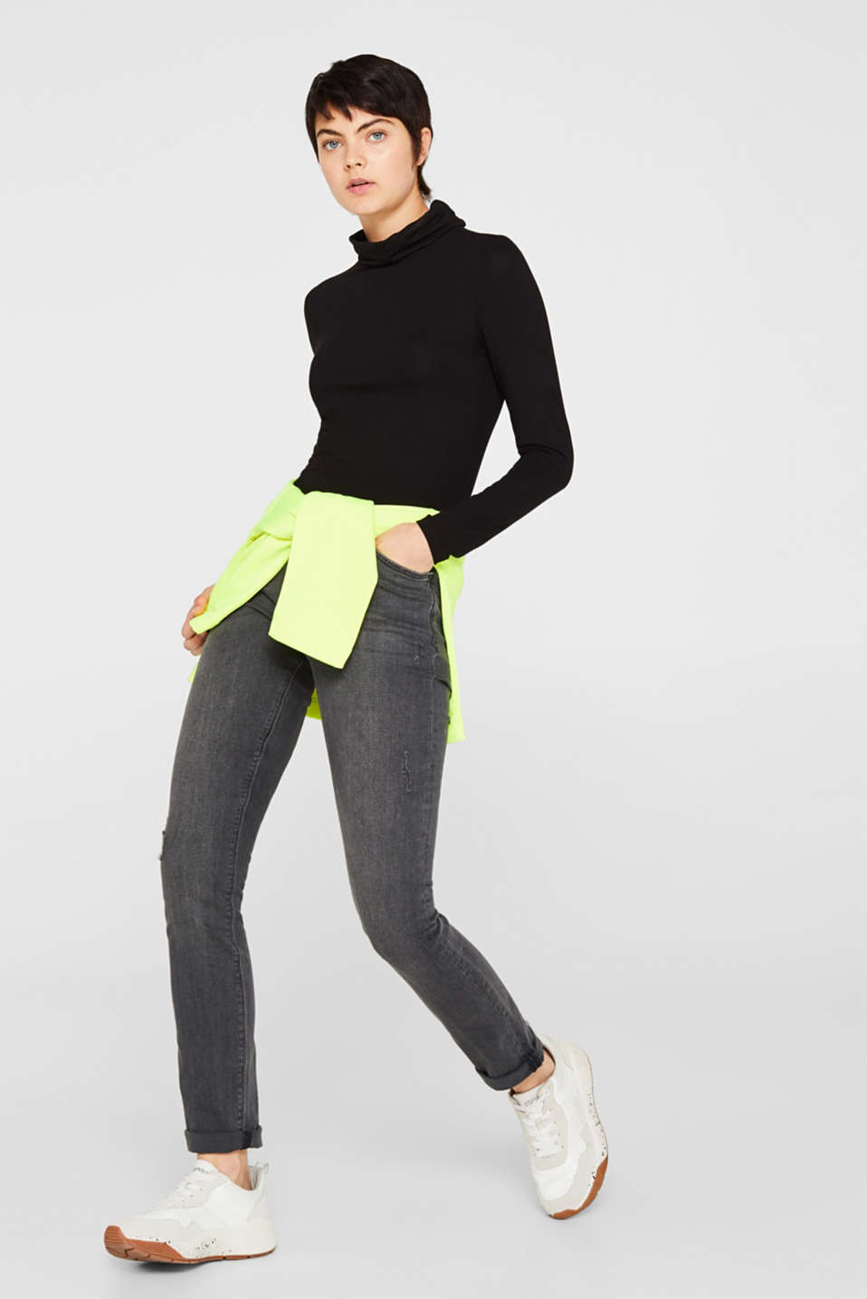 Stretch jeans in a vintage look, BLACK MEDIUM WASH, detail image number 1