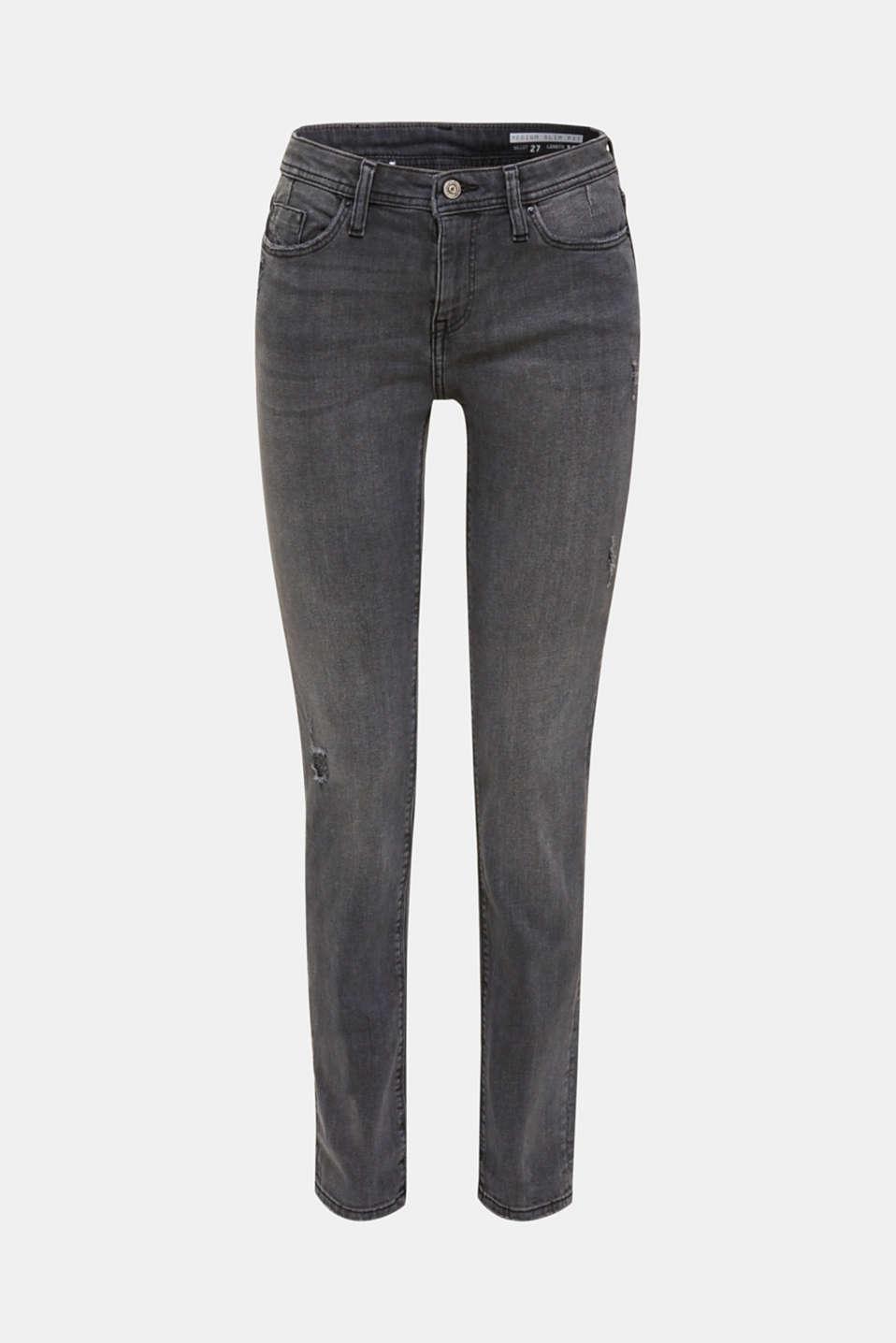 Stretch jeans in a vintage look, BLACK MEDIUM WASH, detail image number 6