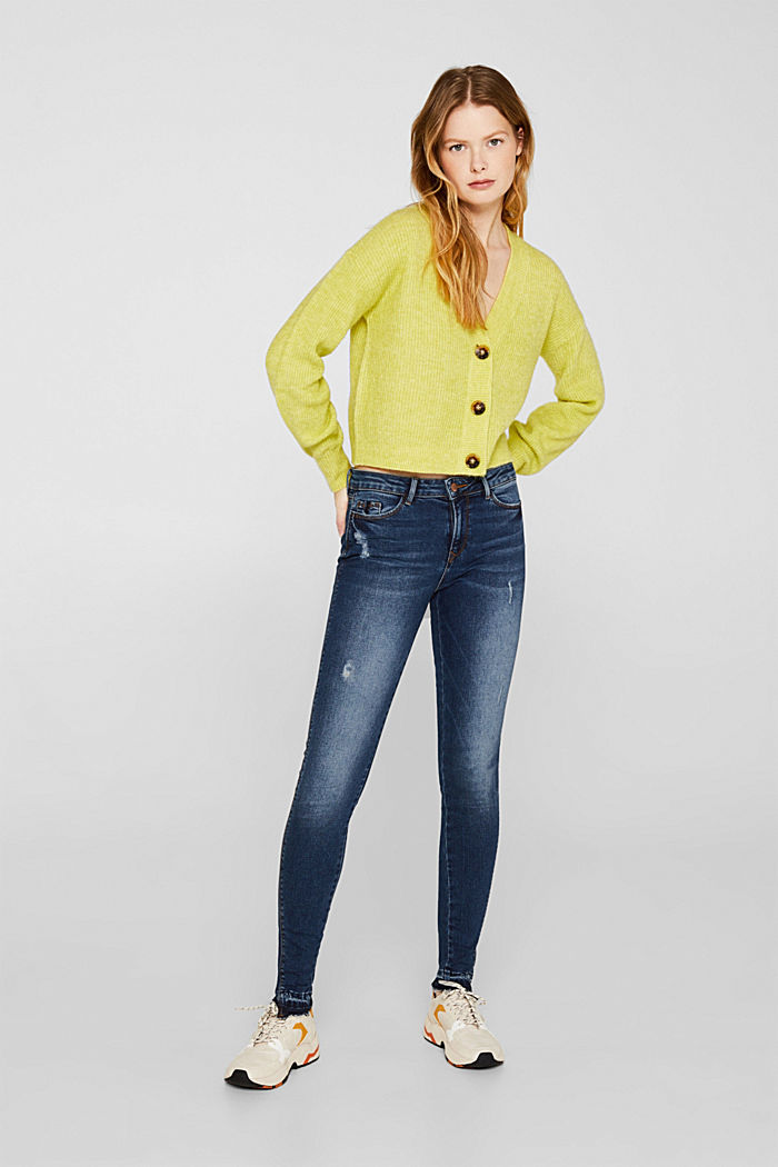 Vintage stretch jeans with unfinished hems, BLUE DARK WASHED, detail image number 0