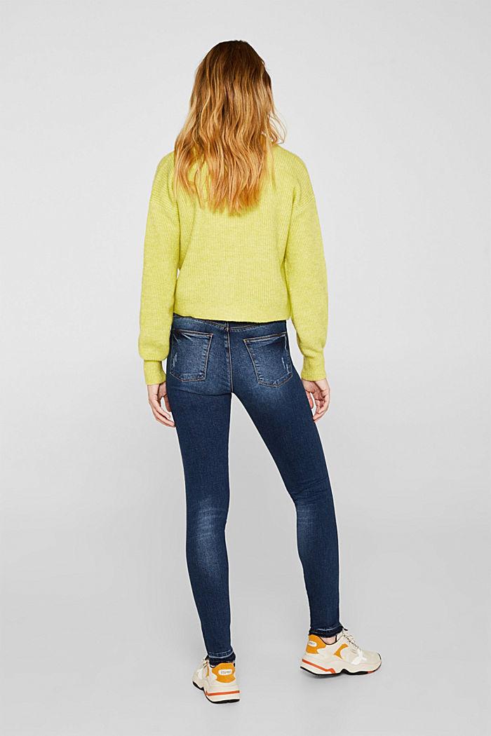 Vintage stretch jeans with unfinished hems, BLUE DARK WASHED, detail image number 3