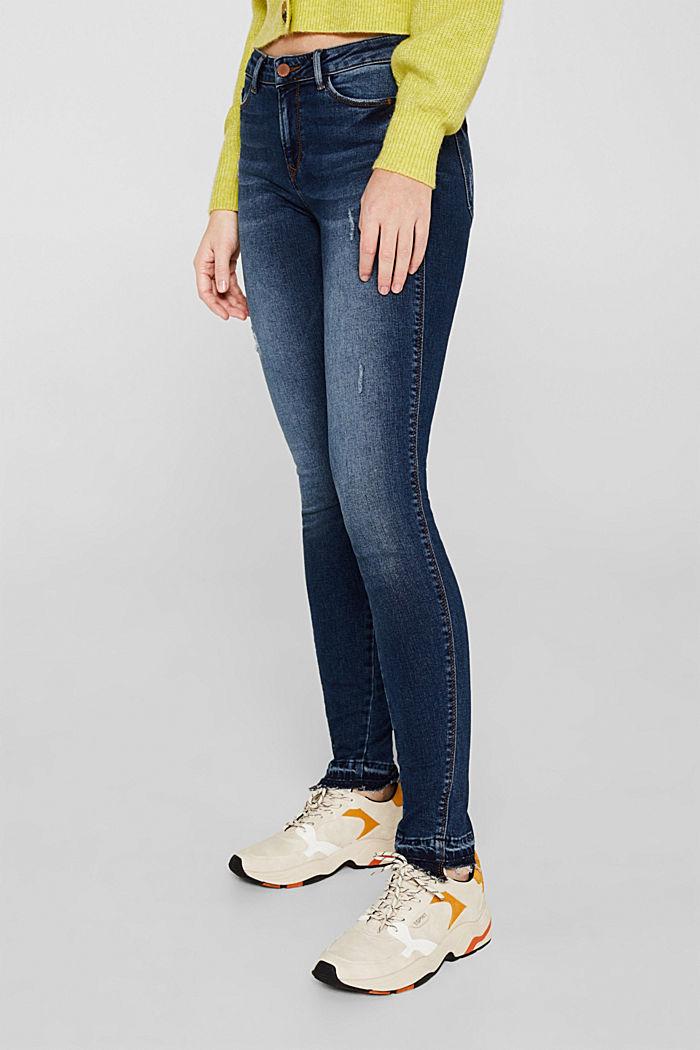 Vintage stretch jeans with unfinished hems, BLUE DARK WASHED, detail image number 6