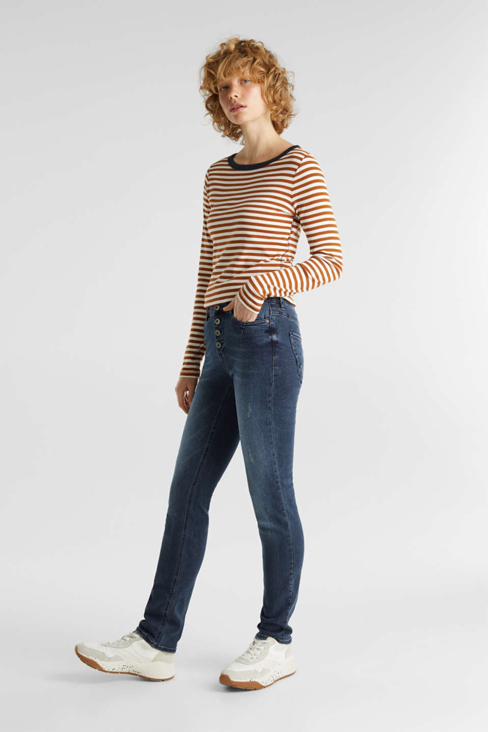 Vintage-style jeans with a button fly