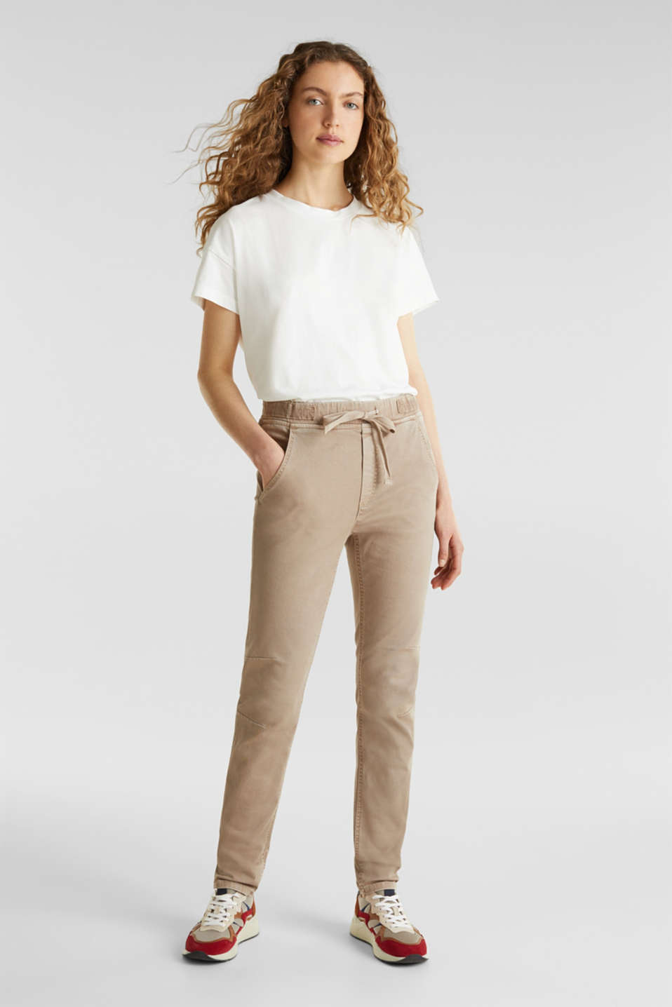 Tracksuit bottoms with an elasticated waistband, BEIGE, detail image number 0