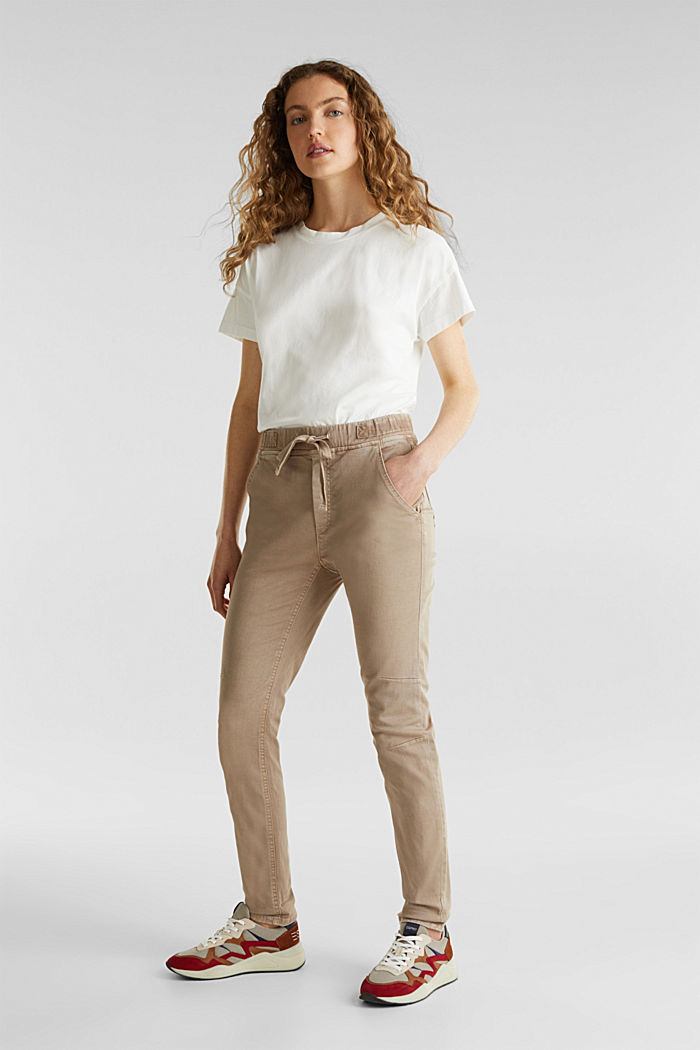 Tracksuit bottoms with an elasticated waistband, BEIGE, detail image number 1