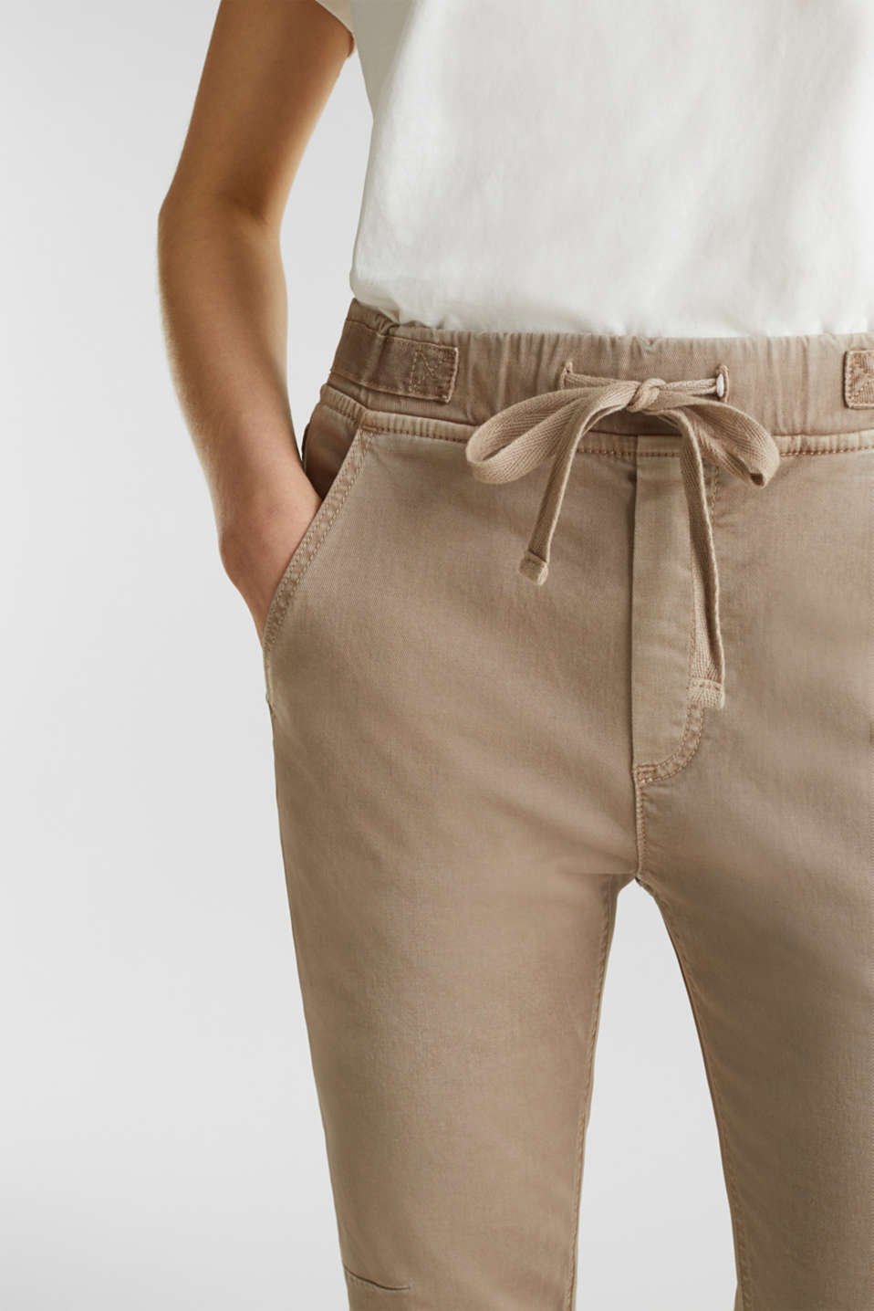 Tracksuit bottoms with an elasticated waistband, BEIGE, detail image number 2