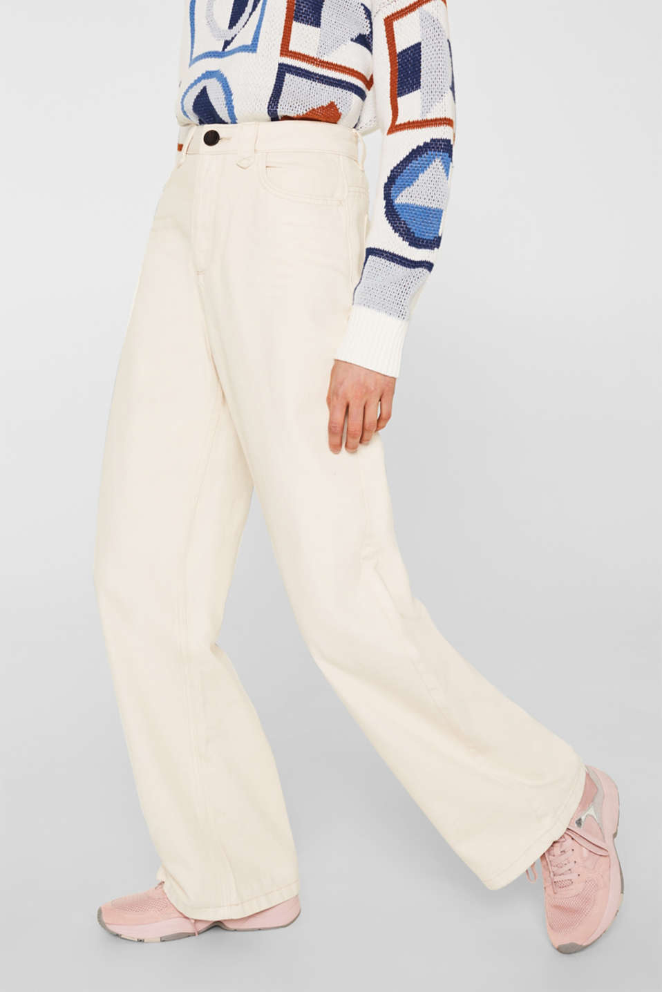 Wide trousers made of blended cotton, OFF WHITE, detail image number 6
