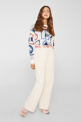 Wide trousers made of blended cotton, OFF WHITE, detail