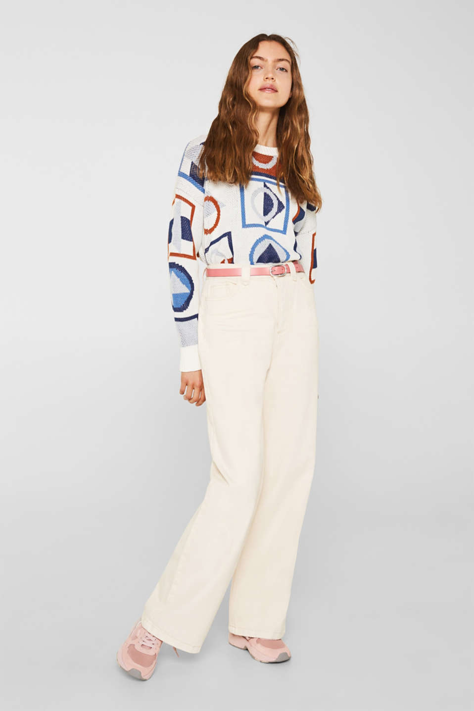 Wide trousers made of blended cotton, OFF WHITE, detail image number 1