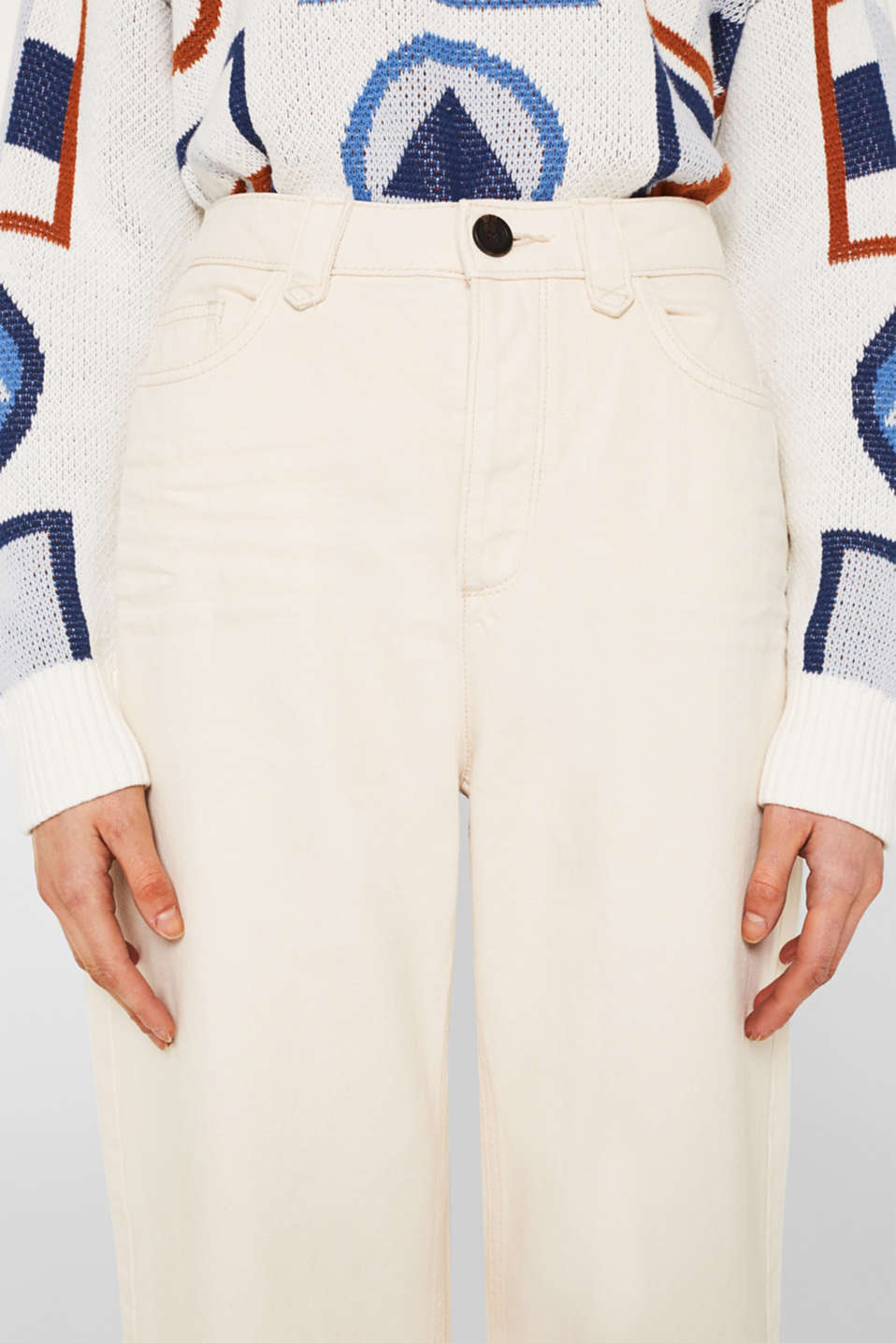 Wide trousers made of blended cotton, OFF WHITE, detail image number 2