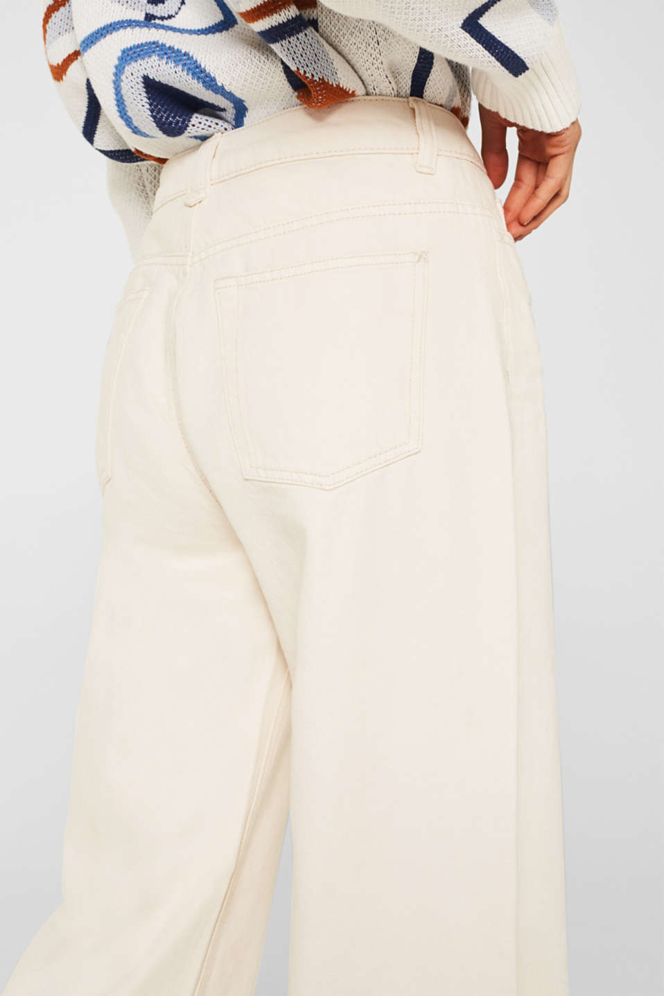 Wide trousers made of blended cotton, OFF WHITE, detail image number 5