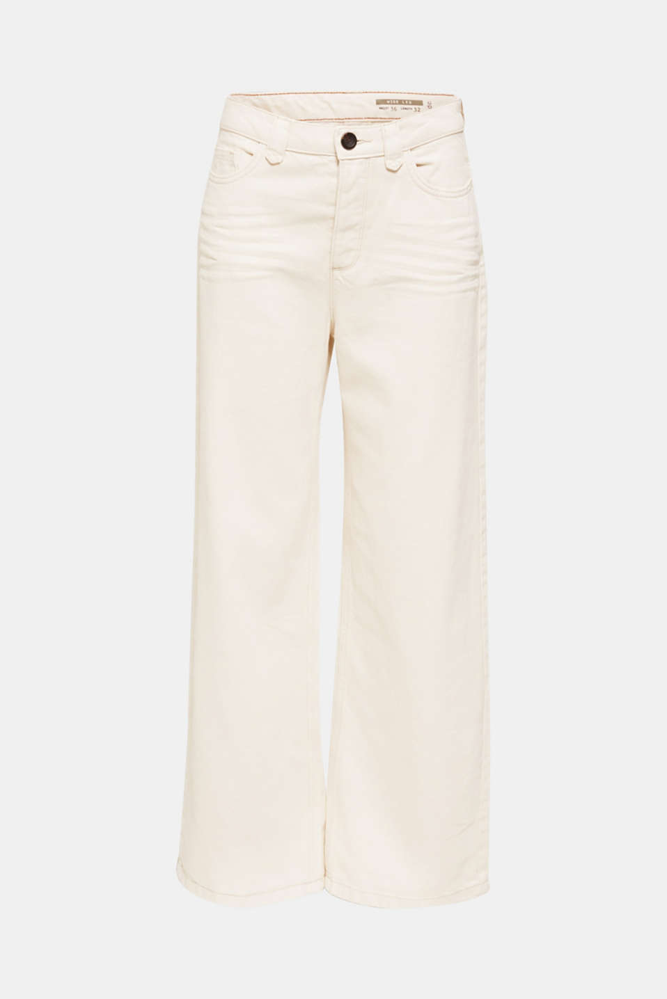 Wide trousers made of blended cotton, OFF WHITE, detail image number 7