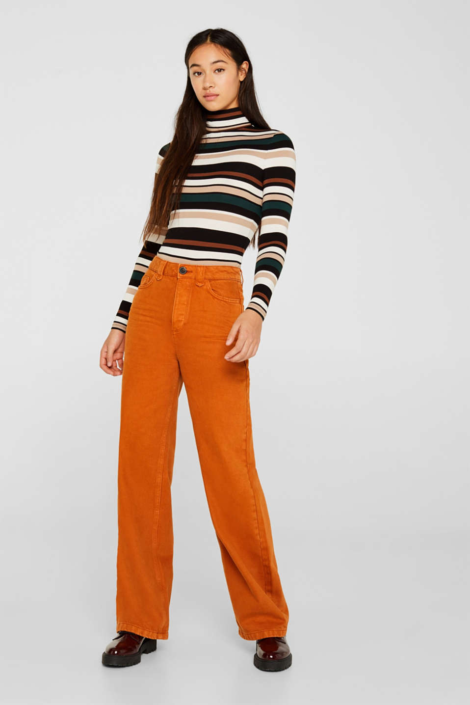 Wide trousers made of blended cotton, CINNAMON, detail image number 0
