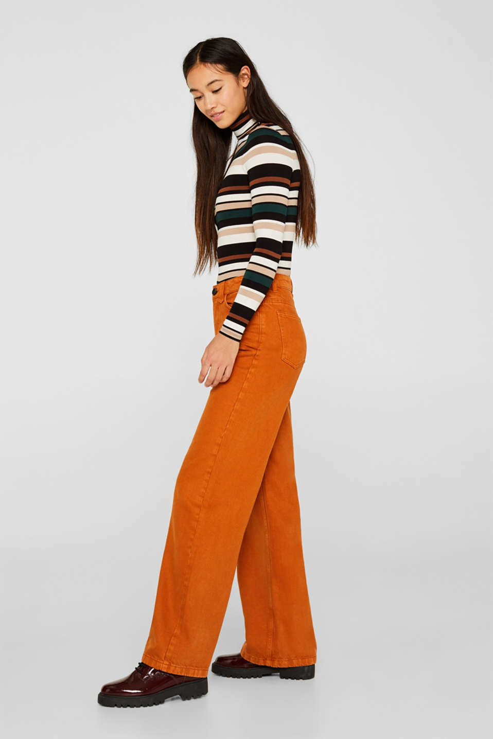 Wide trousers made of blended cotton, CINNAMON, detail image number 1